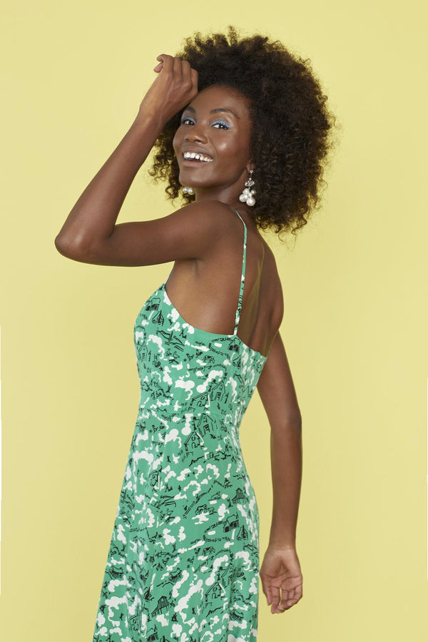 Green Montana Atlanta Button Front Strappy Dress