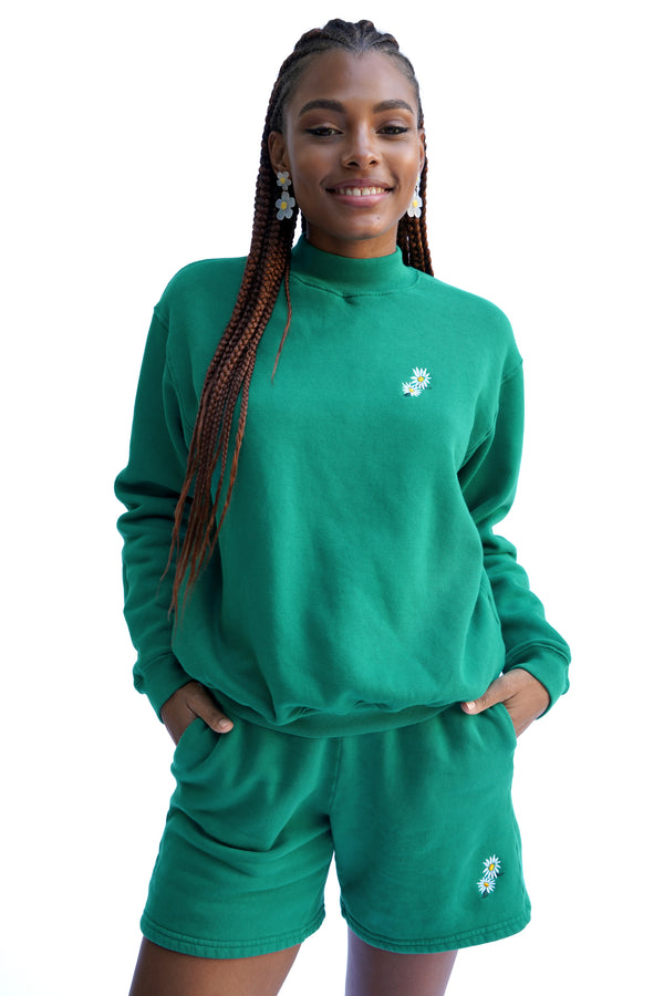 Solid Green w. Daisy Embroidery Mock Neck
