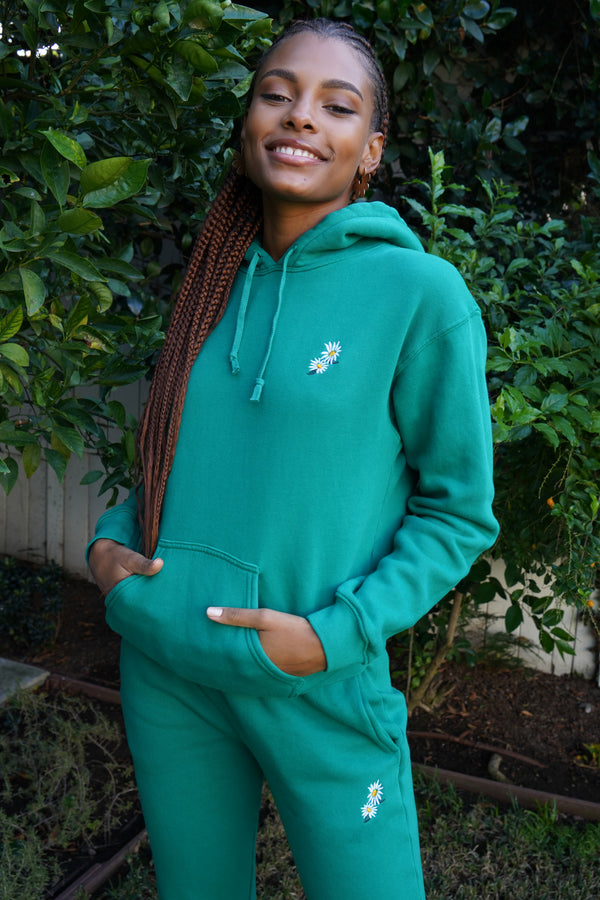 Solid Green w. Daisy Embroidery Sweatpants
