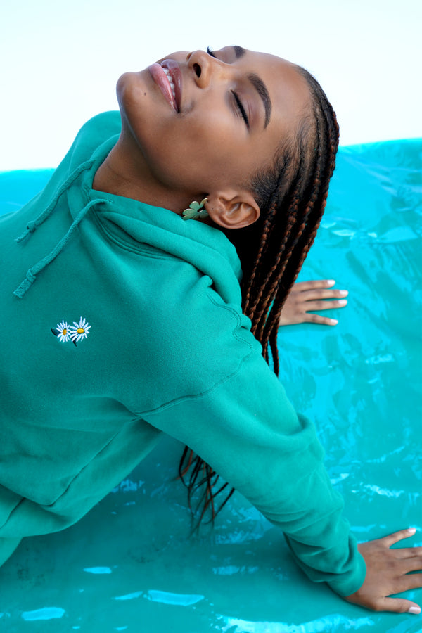 Solid Green w. Daisy Embroidery Hooded Sweatshirt