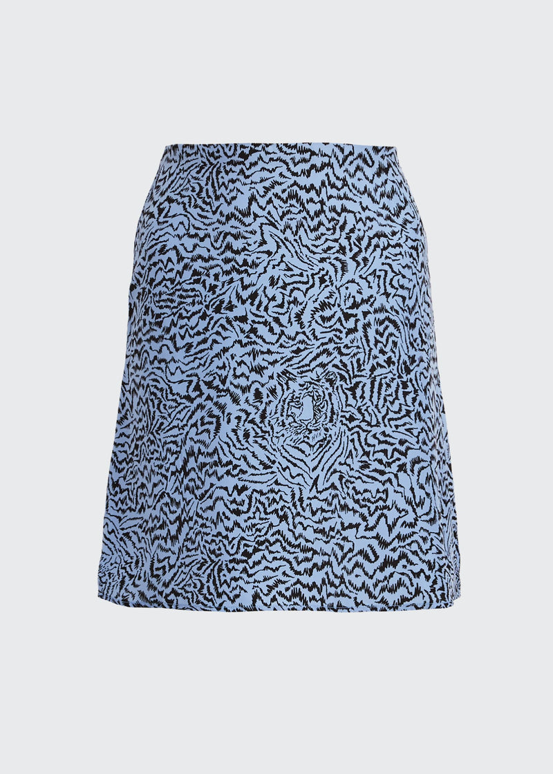 Pale Blue Tiger Mini Wiona Slip Skirt