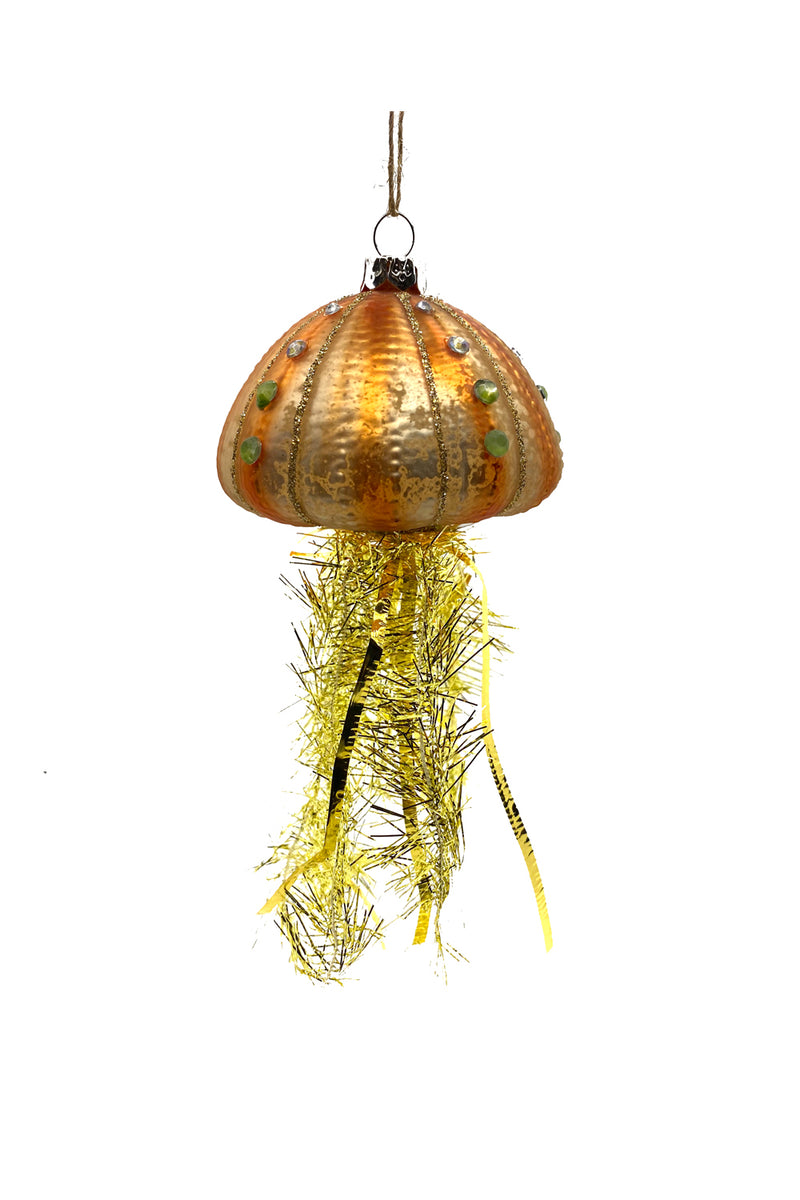 Tinsel Jellyfish Ornament Orange