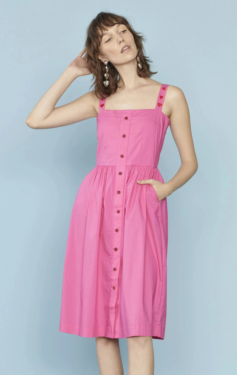 Pink Laura Cotton Dress W. Heart Embroidery