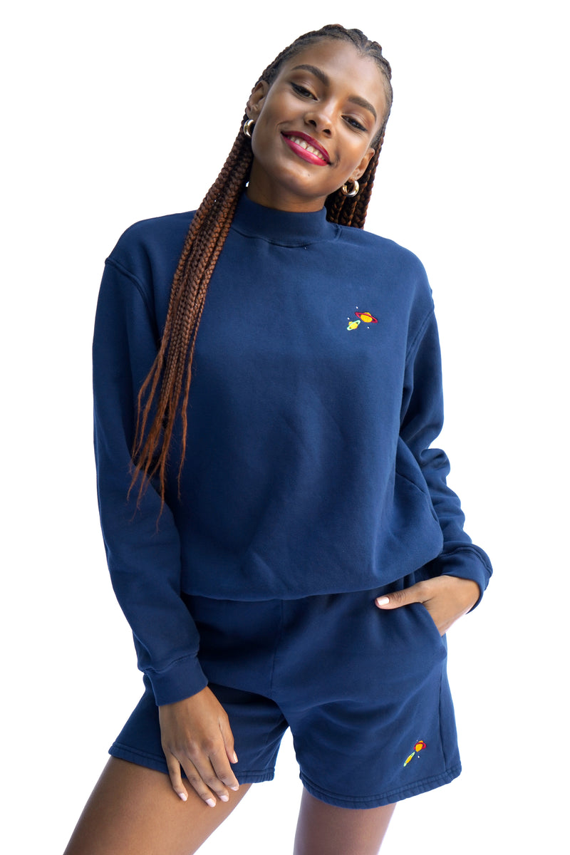 Solid Navy w. Planet Embroidery Mock Neck