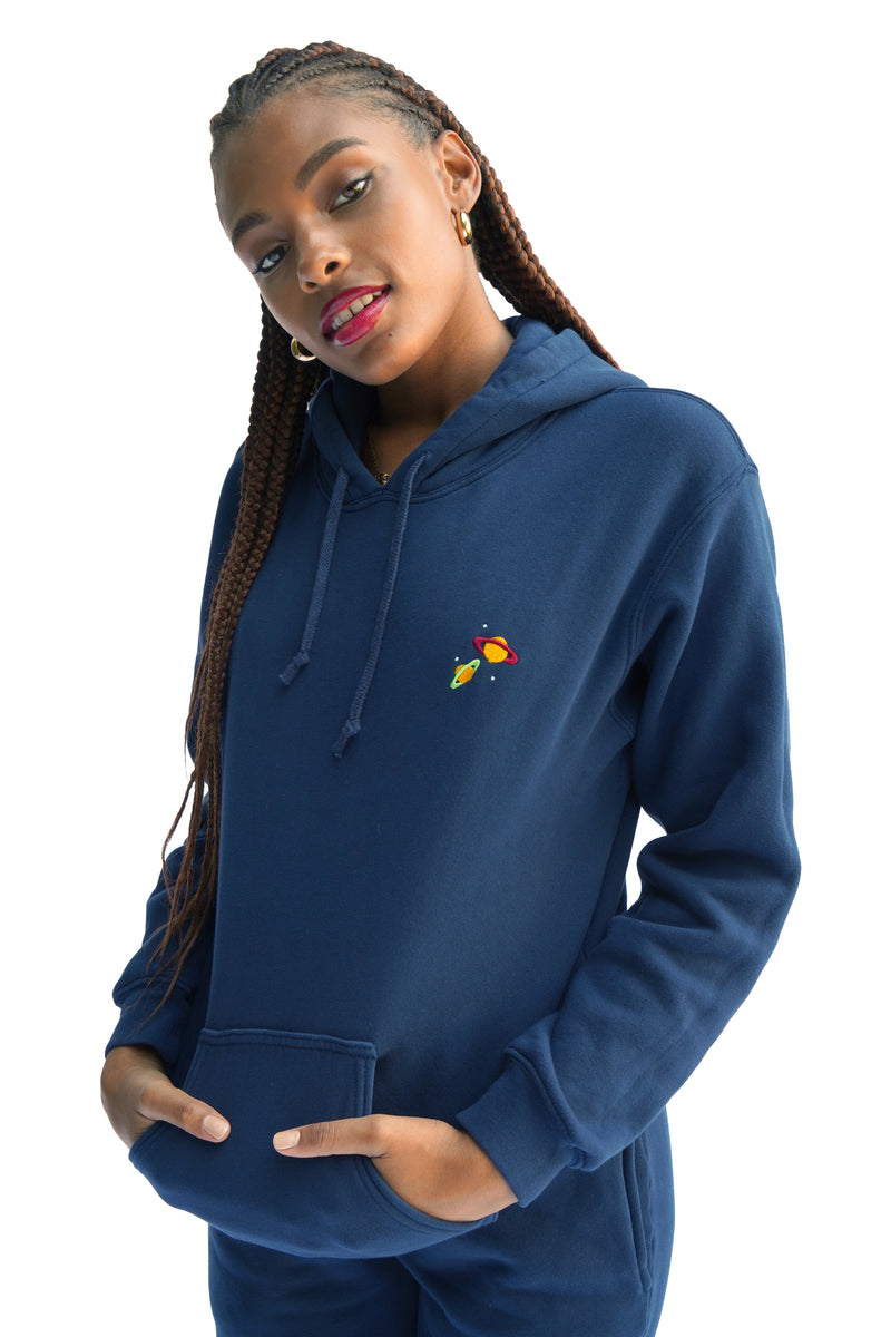 Solid Navy w. Planet Embroidery Hooded Sweatshirt