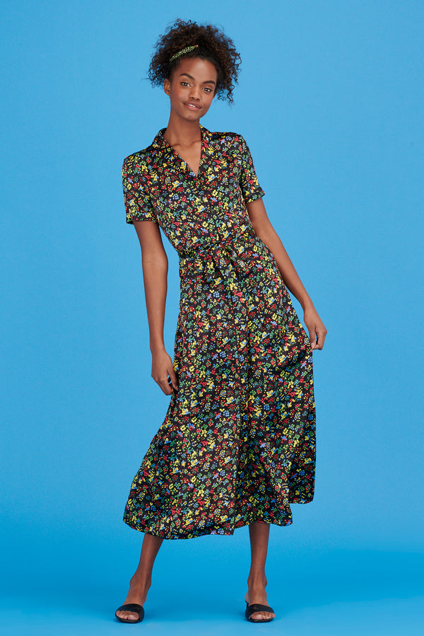 Neon Floral Long Maria Dress