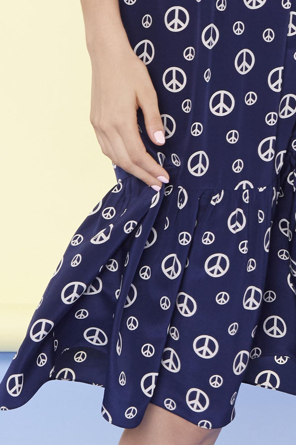 Navy Peace Sign Charlotte Dress
