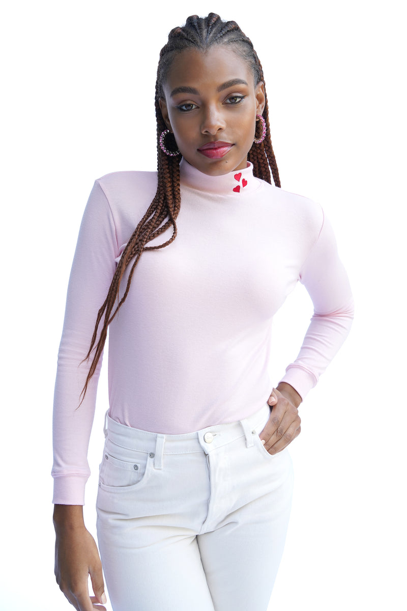 Pink w. Heart Embroidery Dobbs Turtleneck