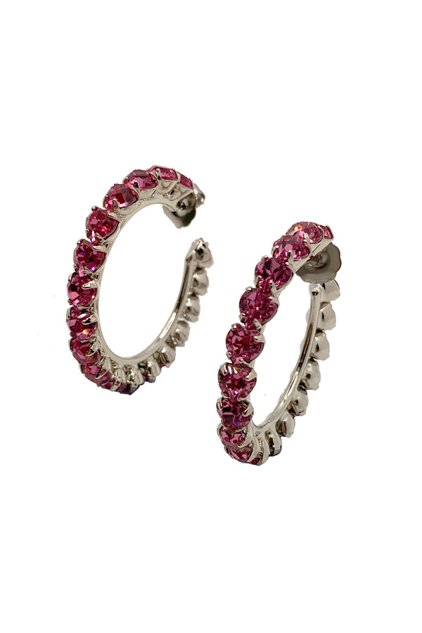 Small Pink Heart Crystal Hoop Earrings