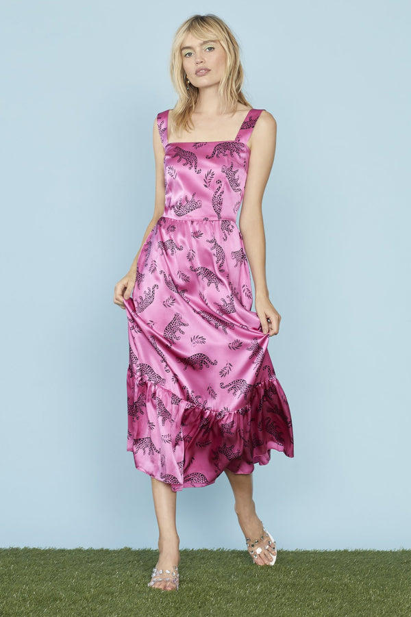 Pink Shiny Tarzan Silk Olympia Sleeveless Dress