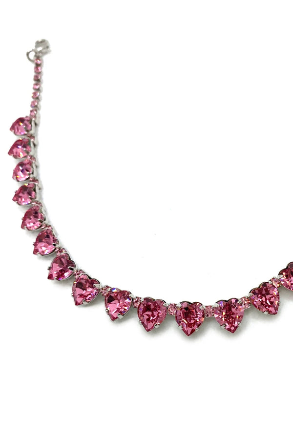 Pink Heart Crystal Necklace
