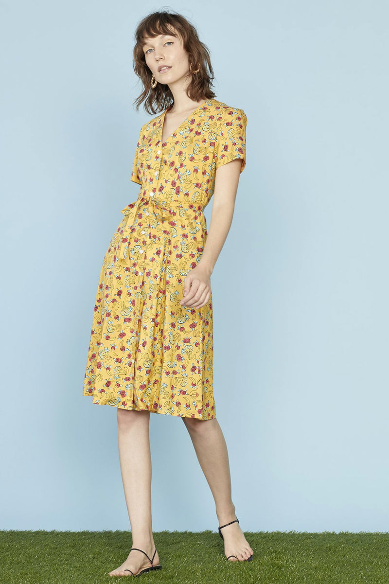 Yellow Tropical Fruit Cotton Rosemary Dress
