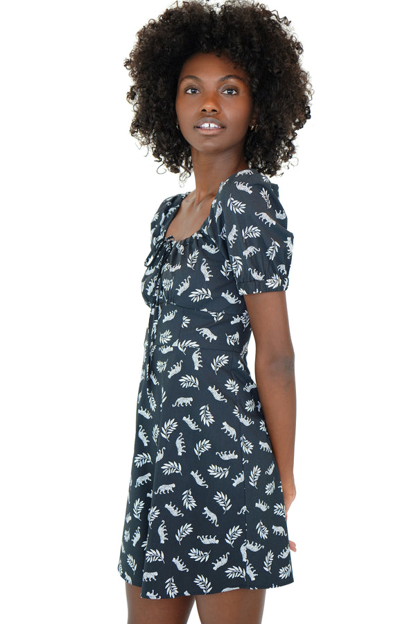 Tarzan Leopard Mini Holland Bow Tie Cotton Dress