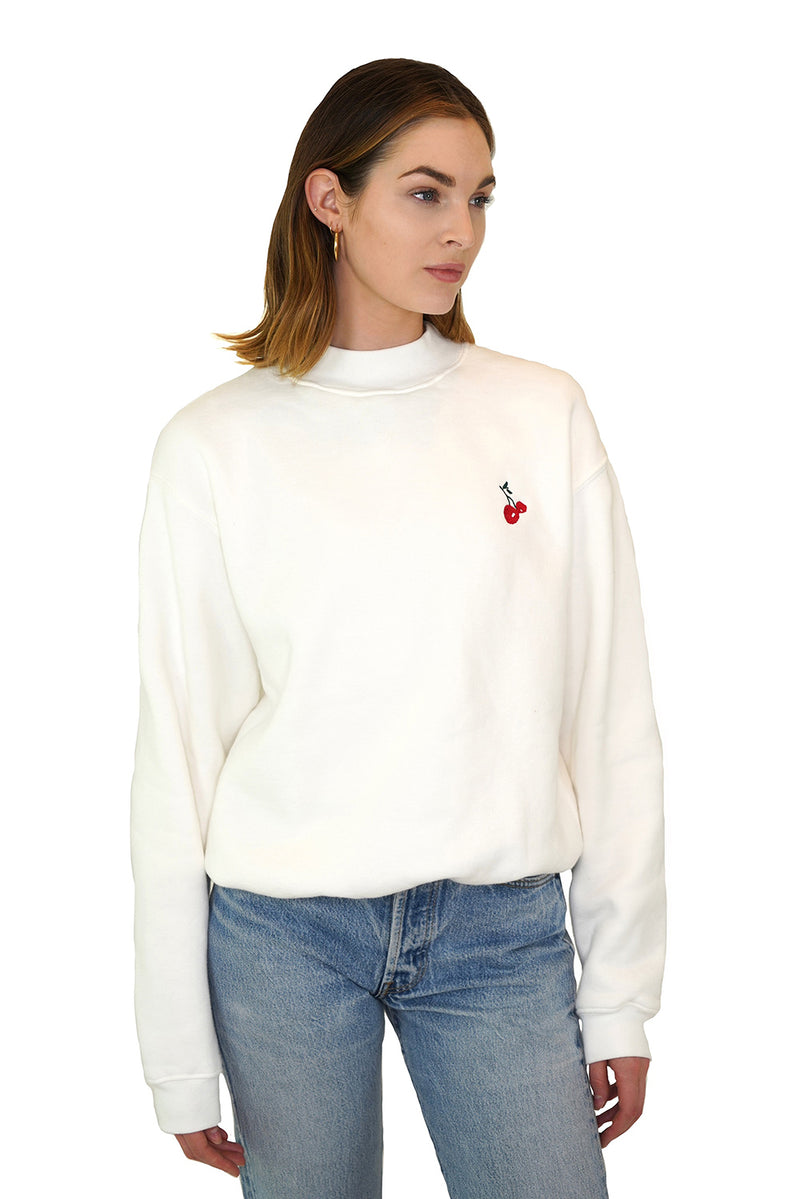 Solid White w. Cherry Embroidery Mock Neck