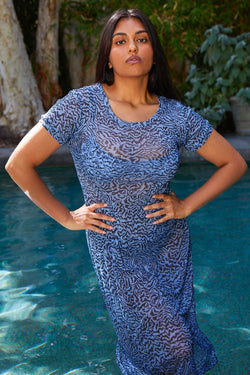 Pale Blue Tiger Mesh Cover Up Dress