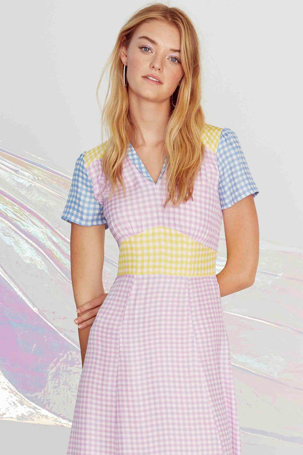 Combo Blue, Yellow & Purple Gingham Morgan Dress
