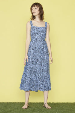 Blue Tiger Silk Olympia Sleeveless Dress