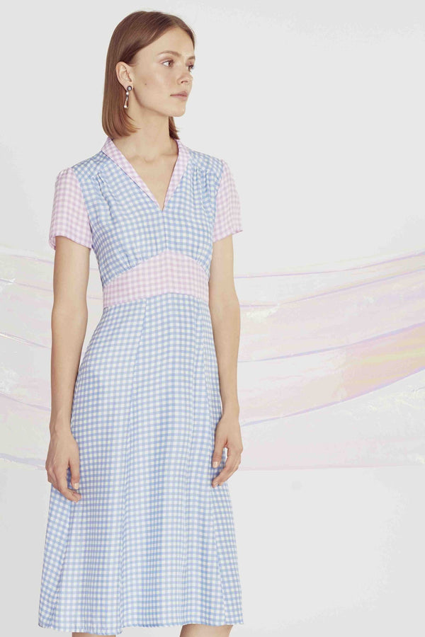 Combo Blue & Purple Gingham Morgan Dress