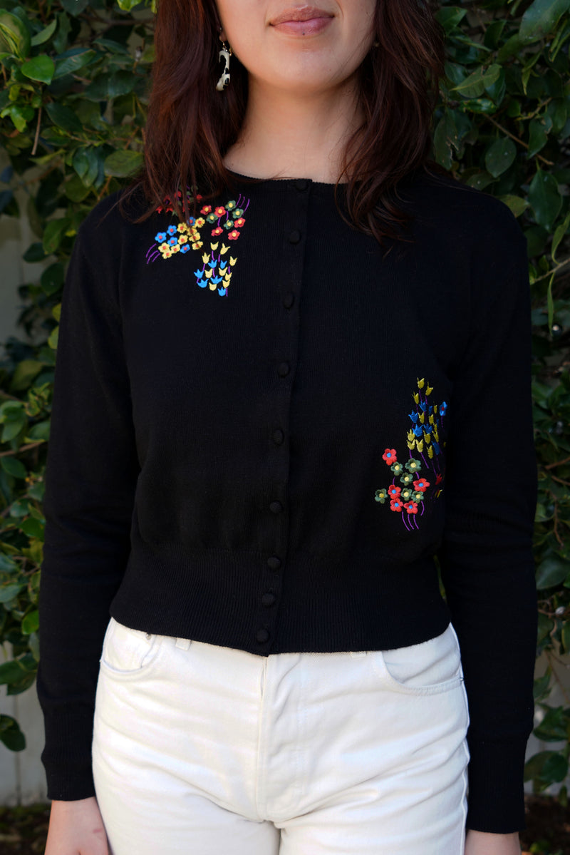 Black Floral Embroidered Laura Cardigan