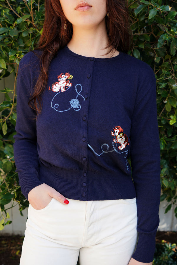 Navy Kitten Embroidered Laura Cardigan