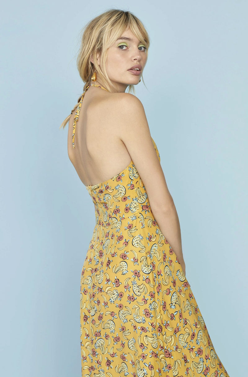 Yellow Tropical Fruit  Reece Halter Gown
