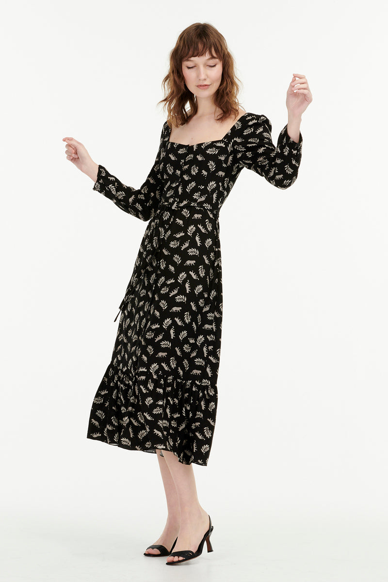 Leopard Eva Square Neck Button Down Dress