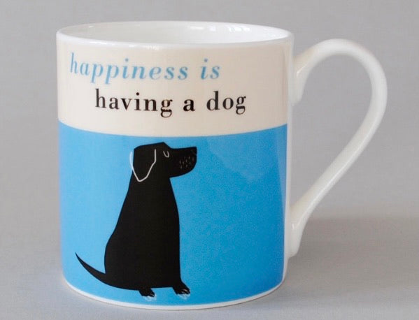 Happiness Black Lab Mug Blue