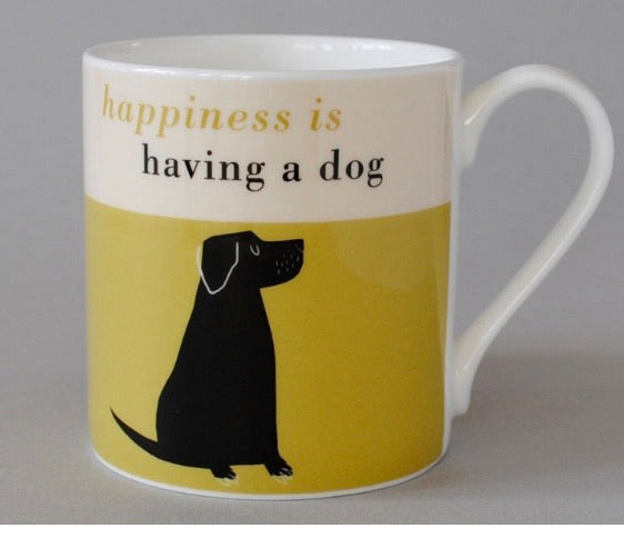 Happiness Black Lab Mug - Olive