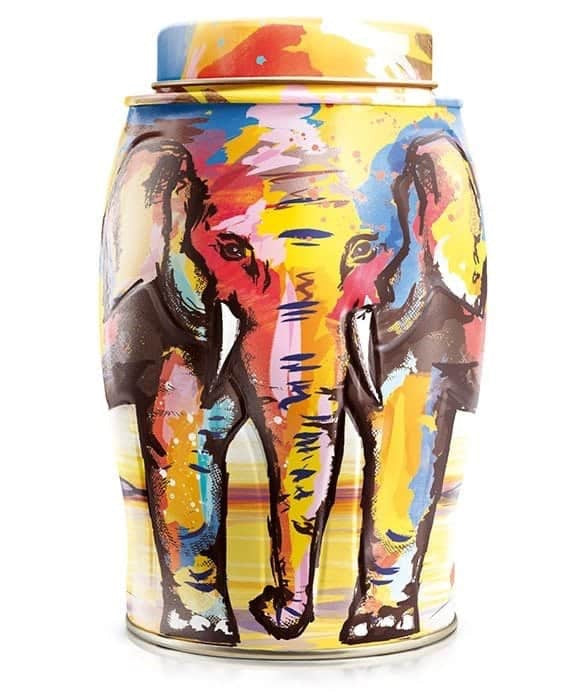 Elephant Tea Caddy - Painterly Summer
