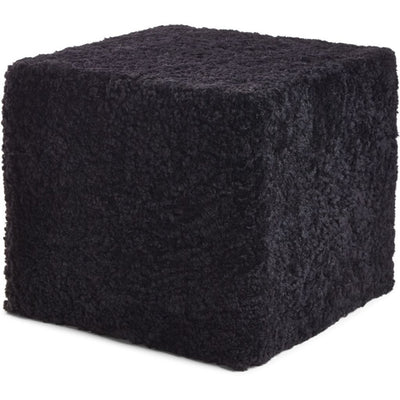 NC Living Pouf of NZ Short-wool curly Sheepskin, Square, 40x40x35 cm Poufs