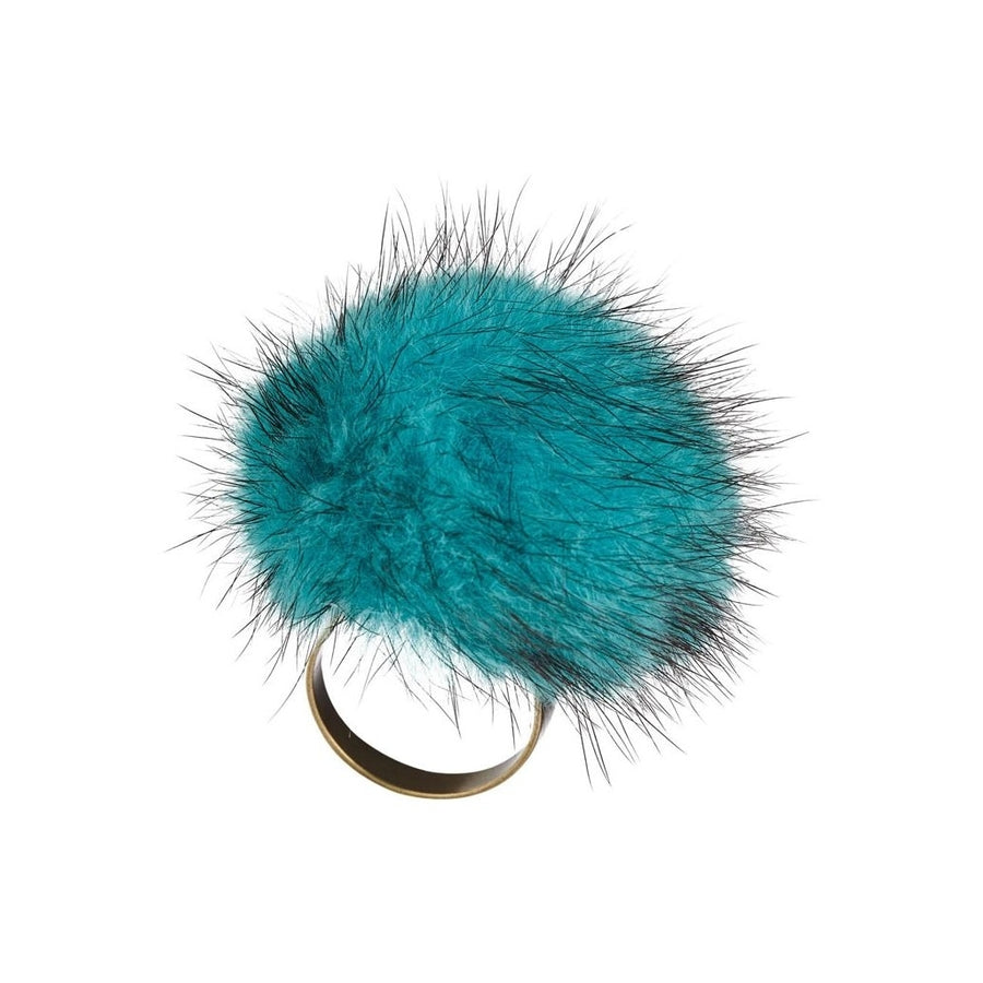 NC Fashion Pom Pom Ring of Mink Rings Blue Irish