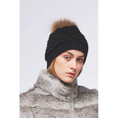 Sidse (beanie of wool and Raccoon)