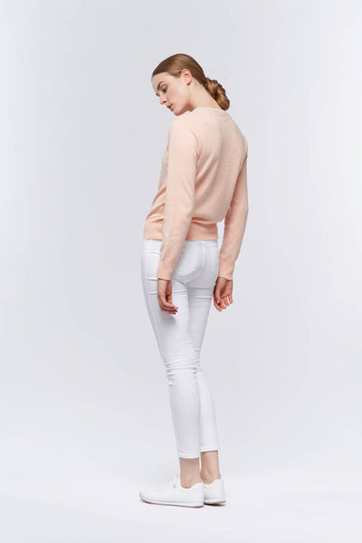 Round Neck Cardigan (of Cashmere and Merino Wool Blend)