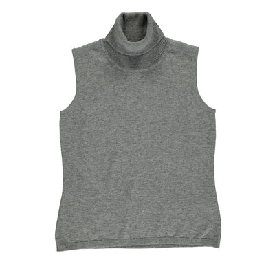Turtle Neck Sleeveless Pullover (of Cashmere & Merino Wool Blend)