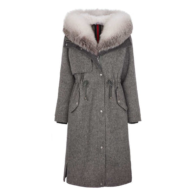 NC Fashion Cille (Jacket with Fox/Cashmere) Jackets Grey/Arctic Marble Fox