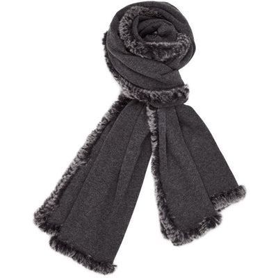 NC Fashion Scarlet (Scarf of wool and Rabbit) Scarfs Dark Grey/Dark Grey Snowtop