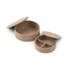 NC Living Leather Box of Premium Quality Calf Leather, Set of 2 pcs. | Round | Size D20,5x7 cm| Large Box