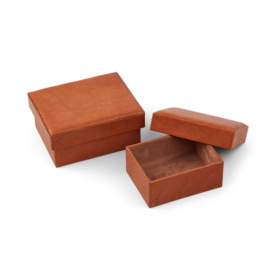 NC Living Leather Box of Premium Quality Calf Leather, Set of 2 pcs. | Square | Size 20,5x16,5x9 CM | Large Box
