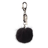 NC Fashion Mink Pom Pom, 6 cm with black metal keyring Keyhangers Black