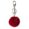 NC Fashion Mink Pom Pom, 6 cm with black metal keyring Keyhangers Brick Red