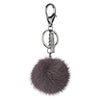 NC Fashion Mink Pom Pom, 6 cm with black metal keyring Keyhangers Dark Grey