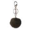 NC Fashion Mink Pom Pom, 6 cm with black metal keyring Keyhangers Khaki