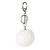NC Fashion Mink Pom Pom, 6 cm with black metal keyring Keyhangers White
