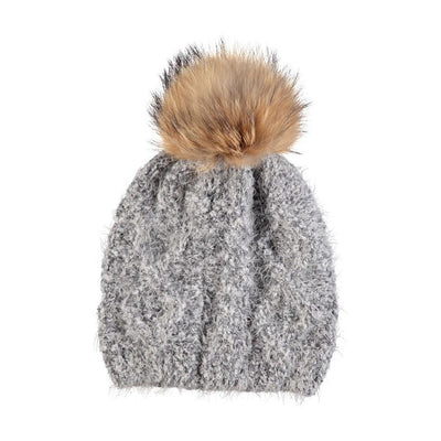 NC Fashion Beate (beanie of Wool and Raccoon) Beanies Light Grey/Natural Brown