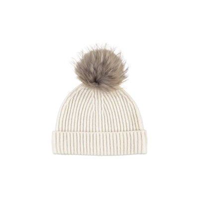 NC Fashion Mathilde Hat (100% Australian Wool) Beanies White/Natural Dark