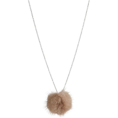 NC Fashion Necklace with Mink-Pom Pom Necklace