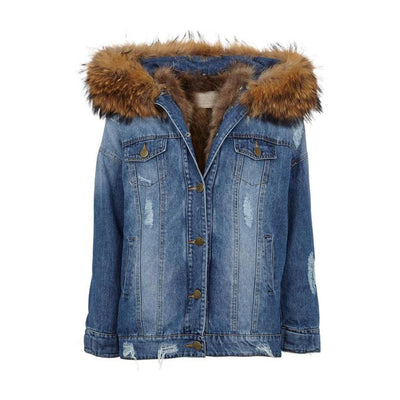 NC Fashion Riley (Jacket of Denim/Raccoon) Jackets Natural Brown
