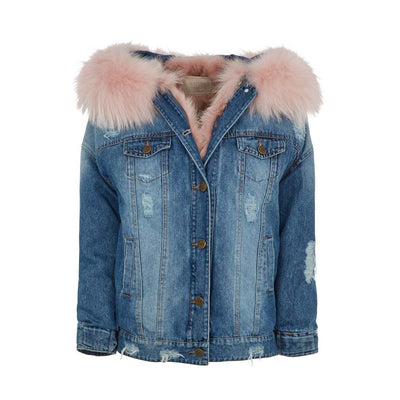 NC Fashion Riley (Jacket of Denim/Raccoon) Jackets Pink