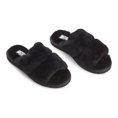 NC Fashion Slippers Straps (of 100% New Zealand Sheepskin) Shoes Black