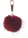 NC Fashion Raccoon Pom Pom with Leather Strap, 13 cm. A/W 18-19 Keyhangers Burgundy